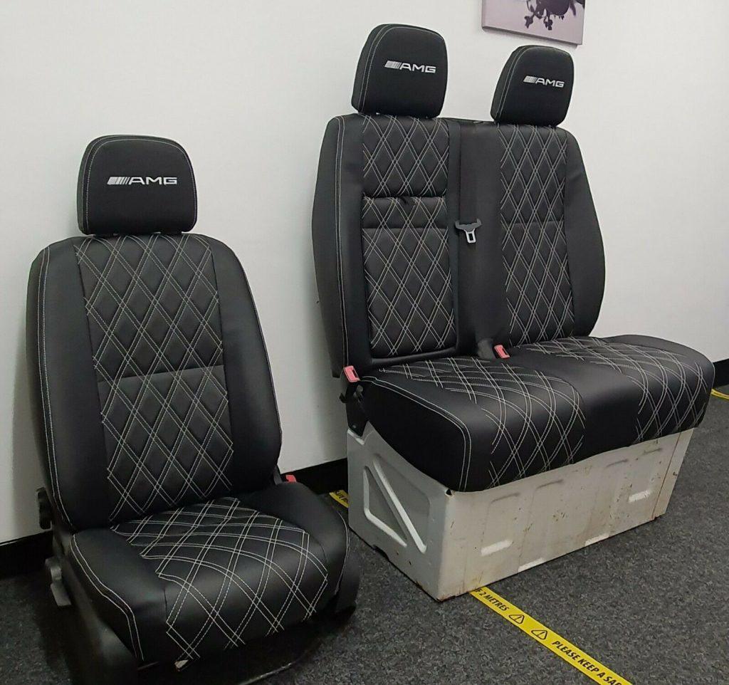 Mercedes sprinter seats-Black-And-White-Daimond-With-AMG-Logos-